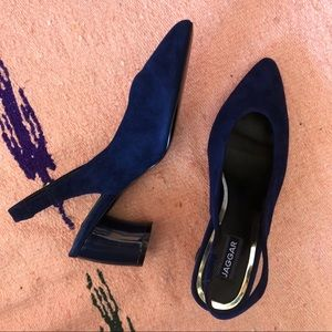Jaggar Midnight Suede Slingback Mules